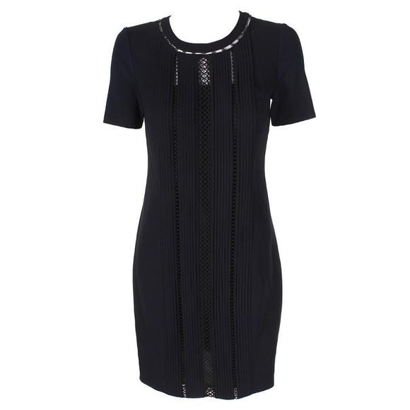b1875006d298e Elie Tahari Dresses | Navy Shortsleeve Pleated Bead Dress | Poshmark